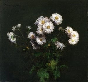 Ignace Henri Jean Fantin-Latour - Bouquet of White Chrysanthemums