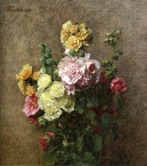Ignace Henri Jean Fantin-Latour - Hollyhocks without Vase