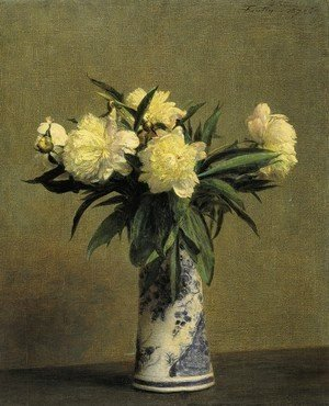 Peonies in a Blue and White Vase
