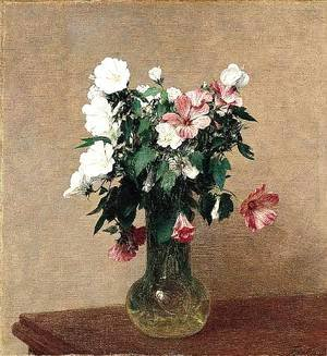 Ignace Henri Jean Fantin-Latour - White and Pink Mallows in a Vase