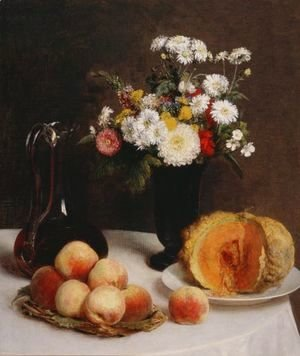 Ignace Henri Jean Fantin-Latour - Still Life with a Carafe, Flowers and Fruit