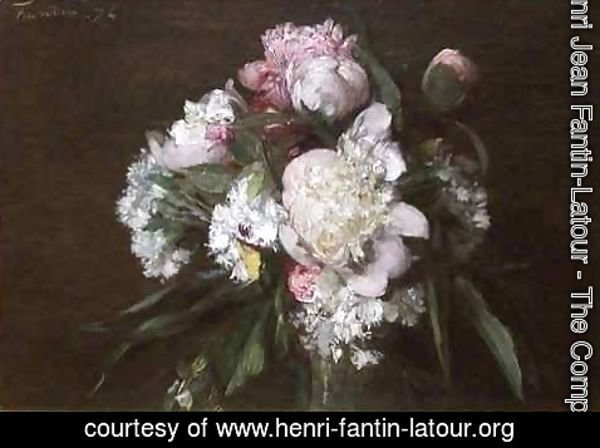Ignace Henri Jean Fantin-Latour - Peonies White Carnations and Roses