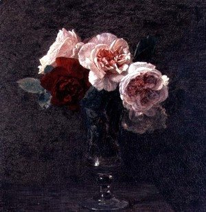Ignace Henri Jean Fantin-Latour - Still Life of Pink and Red Roses