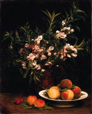 Nature morte (Balsamines, pches et abricots)