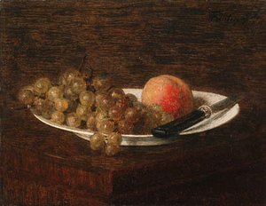 Ignace Henri Jean Fantin-Latour - Nature morte, pche et raisin