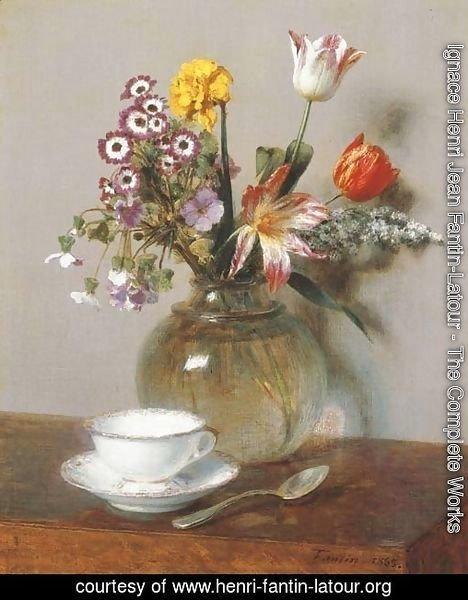 ignace henri jean fantin latour the complete works vase de fleurs avec une tasse de cafe. Black Bedroom Furniture Sets. Home Design Ideas