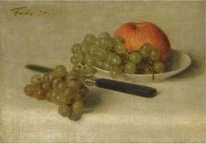 Ignace Henri Jean Fantin-Latour - A Still Life With An Apple And Grapes
