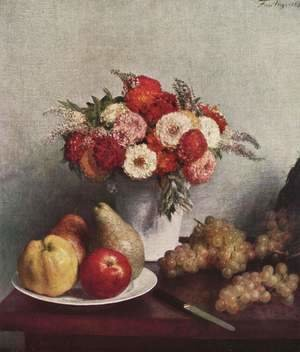 Ignace Henri Jean Fantin-Latour - Still life with flowers and fruits