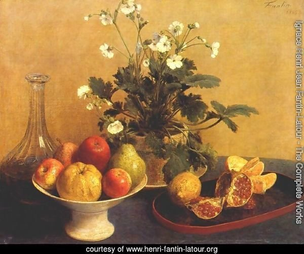 Still life. Flowers, Bowl of Fruit and Pitcher