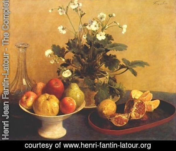 Ignace Henri Jean Fantin-Latour - Still life. Flowers, Bowl of Fruit and Pitcher