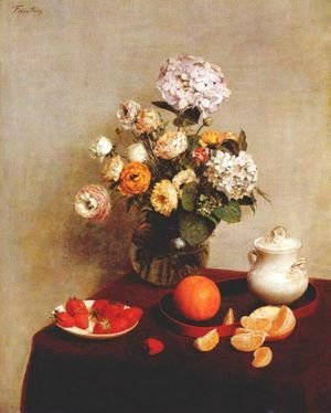 Ignace Henri Jean Fantin-Latour - Still Life Vase Of Hydrangeas And Ranunculus