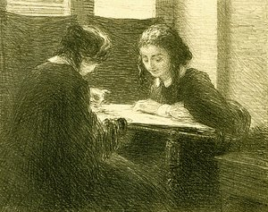 Ignace Henri Jean Fantin-Latour - The-Embroiderers, No. 3