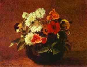 Ignace Henri Jean Fantin-Latour - Flowers in an Earthenware Vase