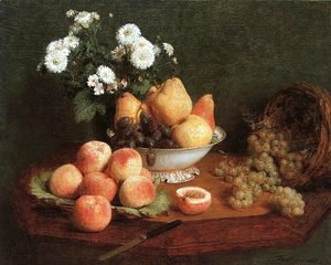 Ignace Henri Jean Fantin-Latour - Flowers & Fruit on a Table 1865