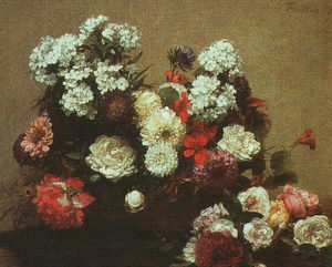Ignace Henri Jean Fantin-Latour - Still Life with Flowers 1881